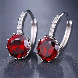 Jewelry - 3 for $18 Ruby CZ 925 Silver Leverback Earrings